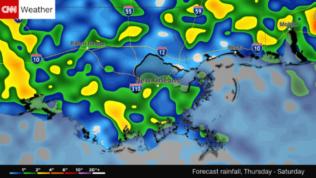 CNN Weather estimates New Orleans will receive 2 inches of rain over the weekend starting Friday,  August 11.