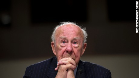 Former Secretary of State George Shultz testifies during a Senate Armed Services Committee hearing in Dirksen on U.S. national security strategy, January 29, 2015.