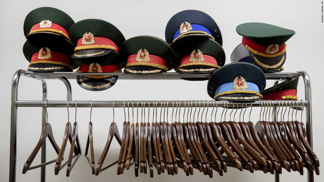 Hats sit on coat rack at the Pentagon as Defense Secretary Jim Mattis meets with Vietnamese Defense Minister Ngo Xuan Lich on Tuesday, August 8.