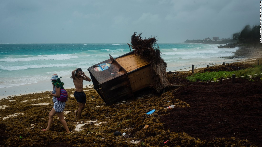 "A booth is knocked over in Tulum, Mexico, after Tropical Storm Franklin hit the area on Tuesday, August 8. <a href=""http://www.cnn.com/2017/08/09/americas/hurricane-franklin-atlantic-mexico-storm/index.html"" target=""_blank"">The storm</a> battered Belize and the Yucatan Peninsula with heavy rain and strong winds."
