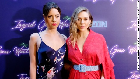 NEW YORK, NY - AUGUST 08:  Aubrey Plaza and Elizabeth Olsen attend the the New York premiere of 'Ingrid Goes West' hosted by Neon at Alamo Drafthouse Cinema on August 8, 2017 in the Brooklyn borough of New York City.  (Photo by Nicholas Hunt/Getty Images)