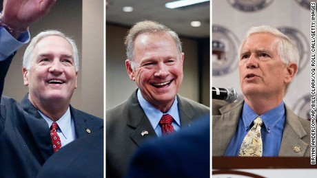 Sen. Luther Strange faces former state Supreme Court chief justice Roy Moore and Rep. Mo Brooks in Tuesday's Alabama Republican Senate primary to fill the remainder of the term of Attorney General Jeff Sessions.