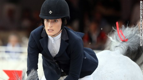 US Jessica Springsteen competes in the Jumping International of Monaco horse jumping competition as part of the Global Champions Tour on June 24, 2017 in Monaco. / AFP PHOTO / VALERY HACHE        (Photo credit should read VALERY HACHE/AFP/Getty Images)