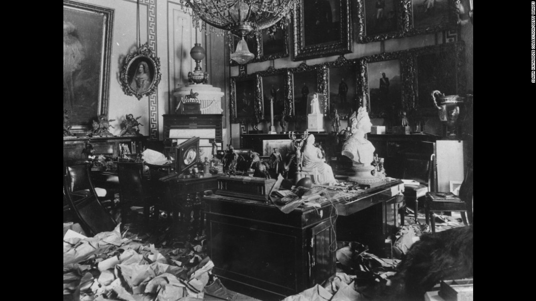 A room in the Czar's Winter Palace after being ransacked by Bolshevik troops during the Russian Revolution.