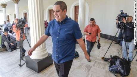 "Venezuelan Constituent Assembly's member Nicolas Maduro Guerra, son of Venezulan President Nicolas Maduro, walks before a session in Caracas on August 8, 2017.  The United Nations on Tuesday slammed Venezuela's use of ""excessive force"" against protesters, amid worsening tensions and fresh moves against the opposition. / AFP PHOTO / JUAN BARRETO        (Photo credit should read JUAN BARRETO/AFP/Getty Images)"