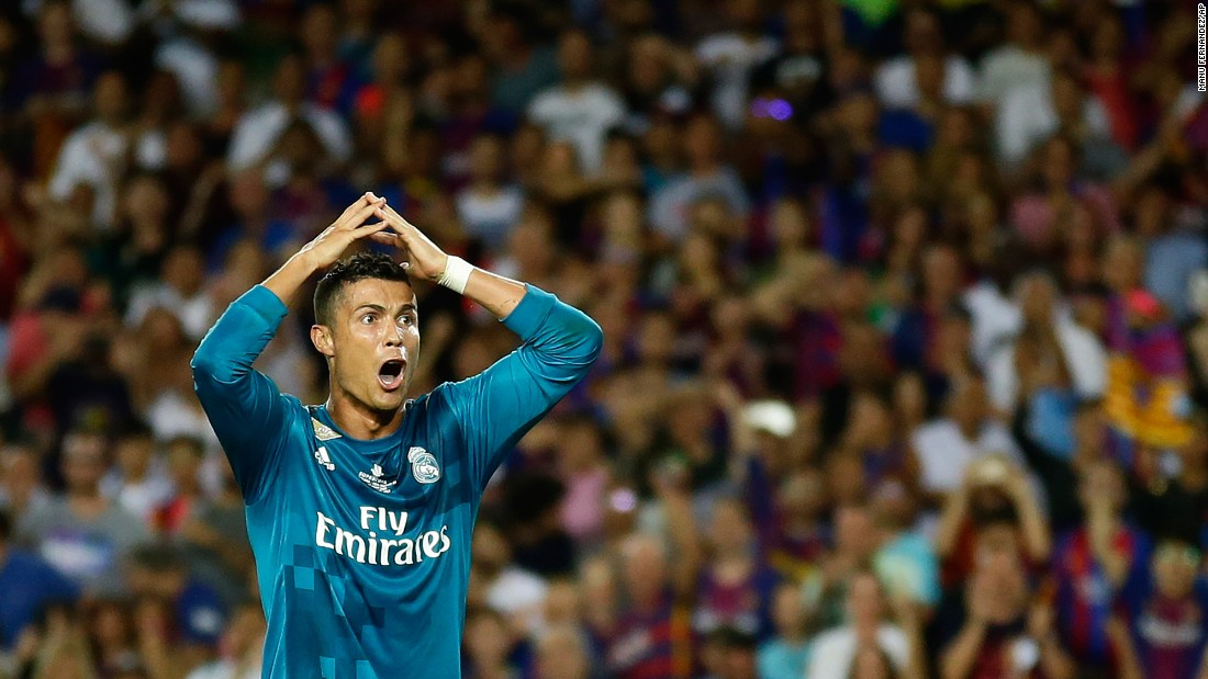 "Real Madrid's Cristiano Ronaldo reacts after receiving a second yellow card during the first leg of the Spanish Super Cup on Sunday, August 13. He received the card -- and the automatic ejection -- for what the referee judged to be a dive. Madrid still defeated its bitter rival, Barcelona, by a 3-1 score, but it'll have to play without its talisman for the second leg. Ronaldo <a href=""http://www.cnn.com/2017/08/14/football/real-madrid-barcelona-ronaldo-red-card-neymar-psg/index.html"" target=""_blank"">also received an additional four-game suspension</a> for pushing the referee as he left the field."