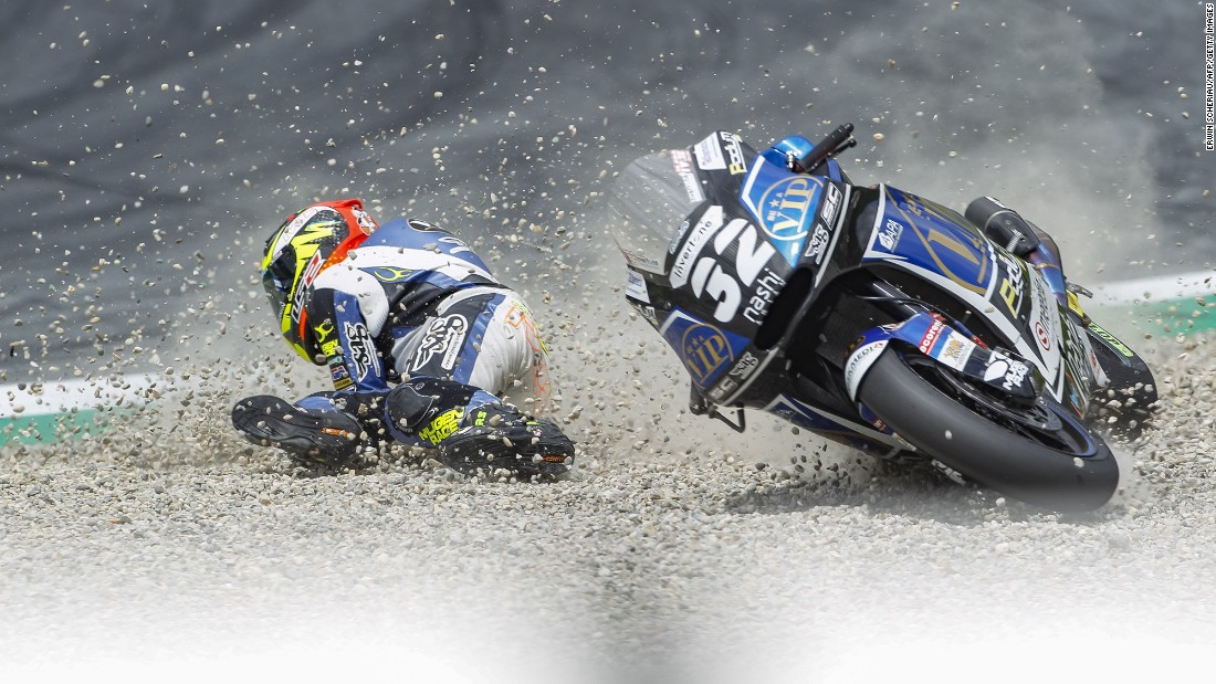 Isaac Vinales falls off his motorcycle during the Moto2 race in Spielberg, Austria, on Sunday, August 13.