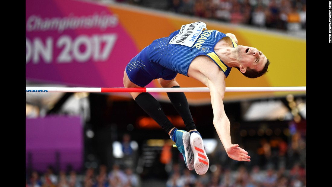 Ukrainian high jumper Bohdan Bondarenko competes at the World Championships on Sunday, August 13.