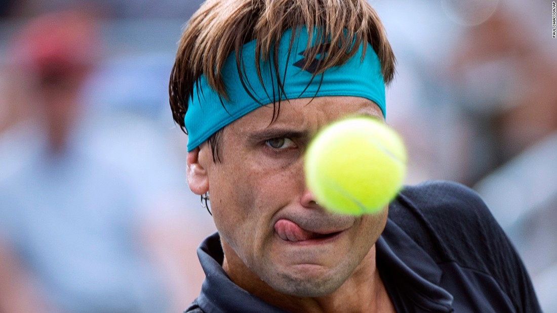 David Ferrer eyes the ball during a Rogers Cup match in Montreal on Thursday, August 10.
