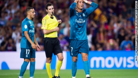 Ronaldo was red carded during the Spanish Super Cup clash between Real Madrid and Barcelona