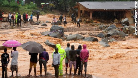 Heavy flooding hit Sierra Leone's capital of Freetown, leaving morgues overflowing and residents desperately searching for loved ones.