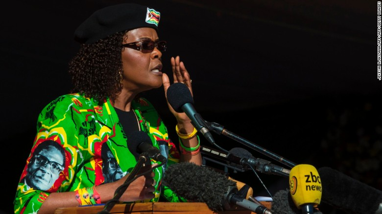 Grace Mugabe addressing a crowd during a party youth rally in Marondera on June 2, 2017.