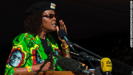Zimbabwe first lady Grace Mugabe addresses a Zanu-PF party youth rally in Marondera in June.