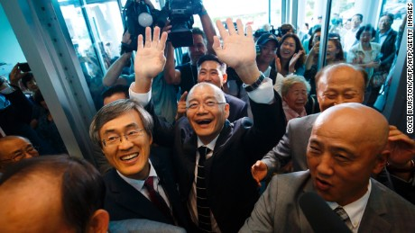 Canadian pastor Hyeon Soo Lim arrives at his church in Mississauga, Canada on  August 13, 2017 after being freed from a North Korean labor camp last week.