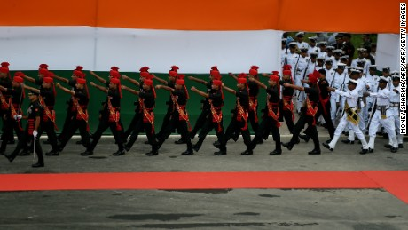 An Indian guard of honor march to positions marking the 70th anniversary of the end of British colonial rule, at the historic Red Fort in New Delhi.