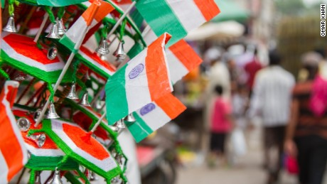 Indian flags on display in Delhi ahead of independence day celebrations