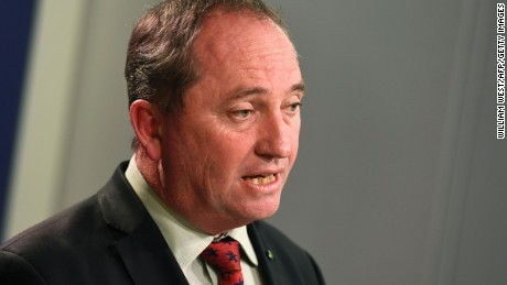 Australia's Deputy Prime Minister Barnaby Joyce addresses a press conference in Sydney on July 5, 2016.  Three days after polls closed the result is still too close to call, with Prime Minister Malcolm Turnbull's Liberal/National coalition and the opposition Labor party each short of the 76 seats needed to govern, raising the prospect of a hung parliament.  / AFP / WILLIAM WEST        (Photo credit should read WILLIAM WEST/AFP/Getty Images)