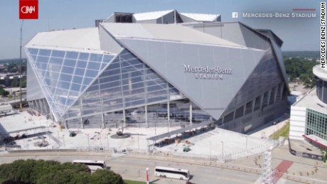 See the new massive mercedes benz stadium cnn video for Atlanta airport to mercedes benz stadium