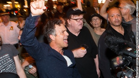 NEW YORK, NY - AUGUST 15:  Mark Ruffalo  joins Michael Moore as he leads his Broadway audience to Trump Tower to protest President Donald Trump on August 15, 2017 in New York City.  (Photo by Noam Galai/Getty Images for for DKC/O&M)