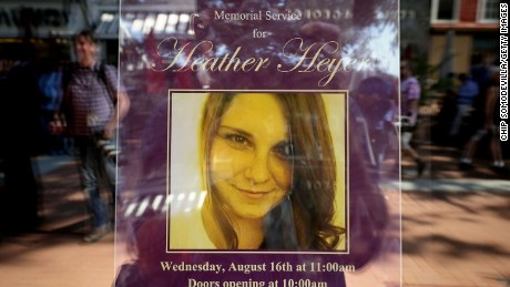 A poster announcing the memorial service for Heather Heyer, who was killed when a car slammed into a crowd of people protesting against a white supremacist rally.