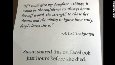 A page from Heather Heyer's memorial service displays a message that her mother, Susan Bro, had posted on Facebook hours before Heyer died.