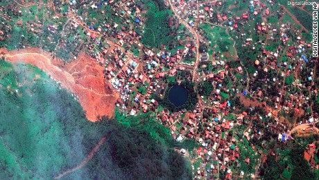 A satellite image shows the extent of the devastation.