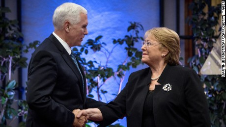 Us Vice President Mike Pence (L) meets with Chilean President Michelle Bachelet at La Moneda presidential palace in Santiago, on August 16, 2017.  Pence arrives in Santiago to begin a two-day visit to Chile that is part of his first tour in Latin America. / AFP PHOTO / POOL / Martin BERNETTI        (Photo credit should read MARTIN BERNETTI/AFP/Getty Images)