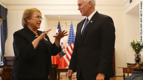 Us Vice President Mike Pence (R) meets with Chilean President Michelle Bachelet at La Moneda presidential palace in Santiago, on August 16, 2017. Pence arrives in Santiago to begin a two-day visit to Chile that is part of his first tour in Latin America. / AFP PHOTO / POOL / Esteban FELIX        (Photo credit should read ESTEBAN FELIX/AFP/Getty Images)
