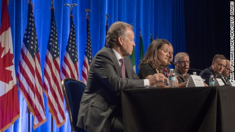 Representatives from Canada, the US and Mexico, deliver opening remarks before the start of negotiations for the modernization of NAFTA, August 16, 2016, in Washington, DC. Negotiators from Canada, Mexico and the United States opened the first round of talks Wednesday to revamp the 23-year-old regional free trade agreement some see as a demon and others as a savior. / AFP PHOTO / PAUL J. RICHARDS        (Photo credit should read PAUL J. RICHARDS/AFP/Getty Images)