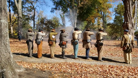 Civil War reenactors make an appearance at the unveiling of Chickamauga's new monument.