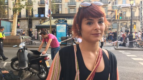 Miren Stillitani, 30, lives just around the corner from Plaça Boqueria, where the van stopped its deadly rampage. She was at work when she heard the news of the attack.