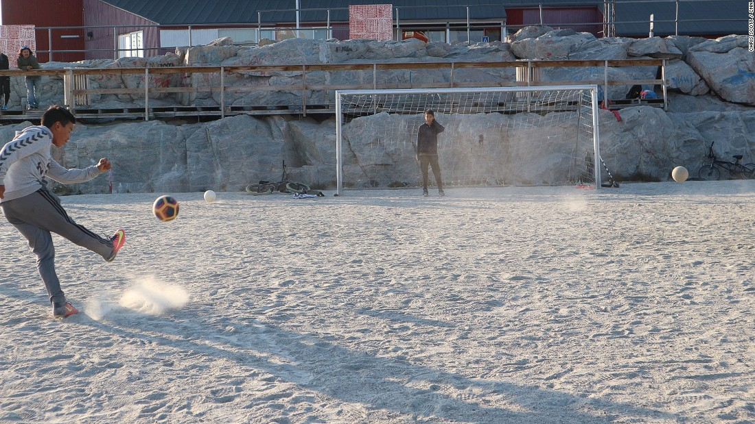 Before the artificial turfs were built two years ago, Greenlandic football was played on pitches of sand and rock.