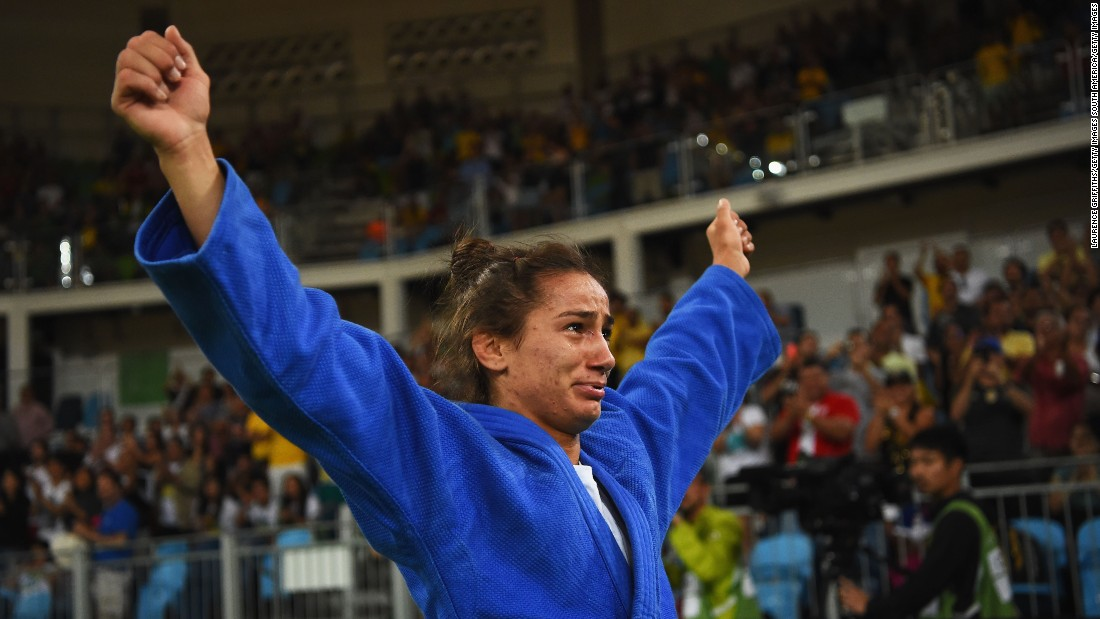 Majlinda Kelmendi tears up after being crowned Kosovo's first ever gold medalist at the Rio Olympics in the women's 52 kg weight category.