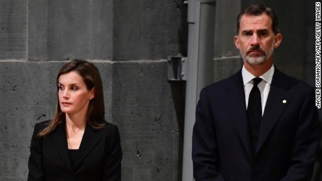 Spain's King Felipe VI  and Queen Letizia attend a mass to commemorate victims of the devastating terror attacks in Barcelona and Cambrils.