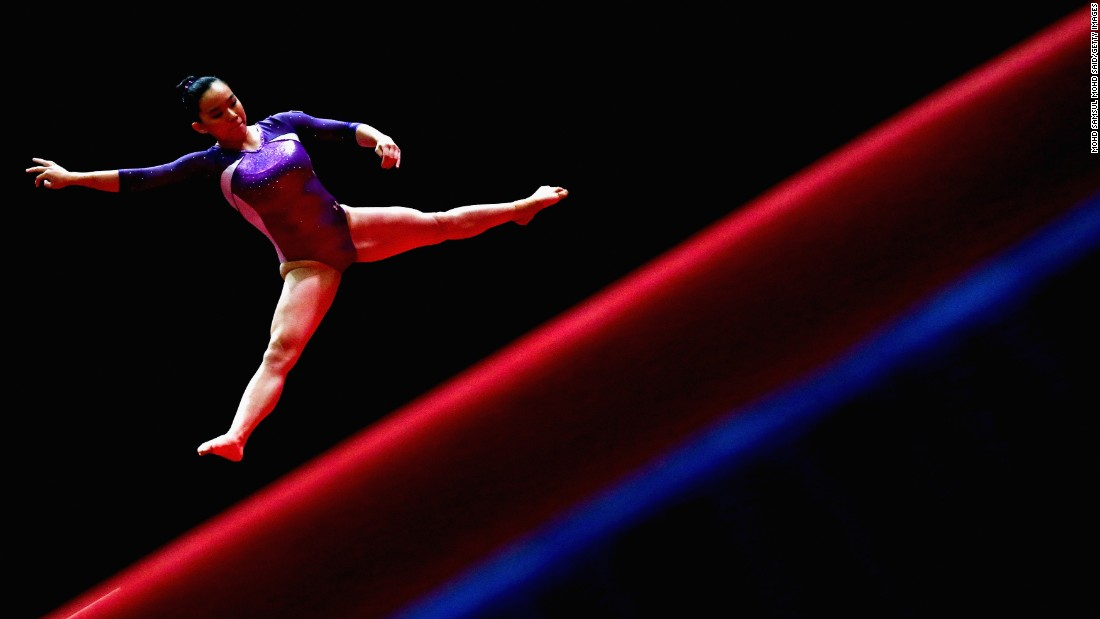 Colette Chan Wan Xuan, a gymnast from Singapore, competes in the floor exercise during the Southeast Asian Games on Monday, August 21.
