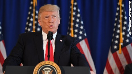 US President Donald Trump speaks to the press about protests in Charlottesville on August 12, 2017, at Trump National Golf Club in Bedminster, New Jersey. A picturesque Virginia city braced Saturday for a flood of white nationalist demonstrators as well as counter-protesters, declaring a local emergency as law enforcement attempted to quell early violent clashes.  / AFP PHOTO / JIM WATSON        (Photo credit should read JIM WATSON/AFP/Getty Images)