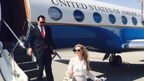Treasury Secretary Steven Mnuchin's wife Louise Linton had an exchange with an Instagram user on Monday night after the user criticized for tagging several designer brands in an image of the couple de-boarding a government plane.