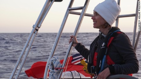Kellie takes the helm during the crossing from the UK to Gibraltar.