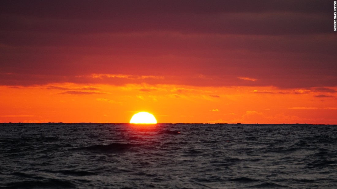 With nothing on the horizon, the open ocean is perfect place to capture stunning sunsets -- like this one in the Atlantic.