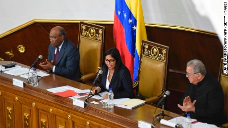 "The president of Venezuela's Constituent Assembly Delcy Rodriguez (C), first vice president Aristobulo Isturiz (L) and second vice president Isaias Rodriguez (R) are pictured during a session in Caracas on August 8 , 2017.  The United Nations on Tuesday slammed Venezuela's use of ""excessive force"" against protesters, amid worsening tensions and fresh moves against the opposition. / AFP PHOTO / JUAN BARRETO        (Photo credit should read JUAN BARRETO/AFP/Getty Images)"