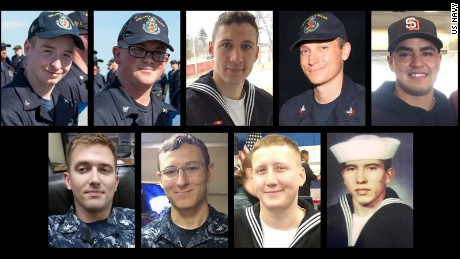 Navy identifies dead, missing USS McCain sailors