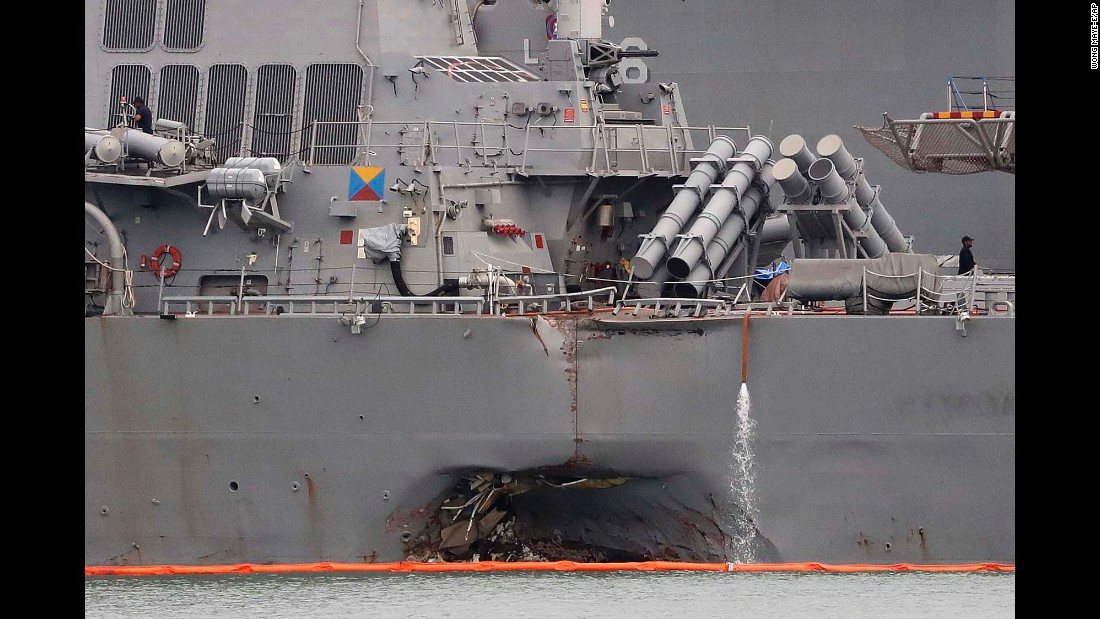 "Damage can be seen on the USS John S. McCain after the Navy destroyer <a href=""http://www.cnn.com/2017/08/24/politics/uss-john-mccain-search-and-rescue-suspended/index.html"" target=""_blank"">collided with an oil tanker</a> near Singapore on Monday, August 21. The remains of at least one sailor have been recovered; nine sailors are still missing."