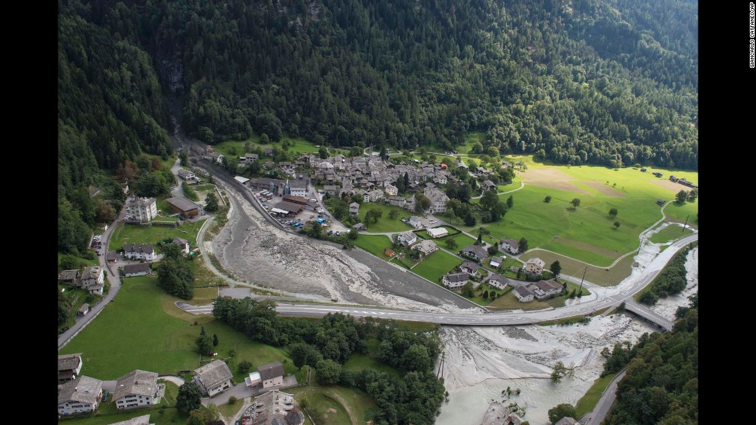 "This photo shows <a href=""http://www.cnn.com/2017/08/24/europe/switzerland-landslide/index.html"" target=""_blank"">a landslide that hit the Swiss town of Bondo</a> on Wednesday, August 23. Eight people were reported missing."