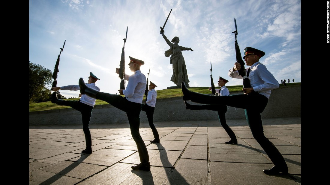 Soldiers march Tuesday, August 22, during a changing-of-the-guard ceremony at Mamayev Kurgan, a World War II memorial in Volgograd, Russia.