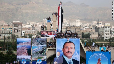 Supporters of former Yemeni President Ali Abdullah Saleh attend a rally in Sanaa on Thursday.