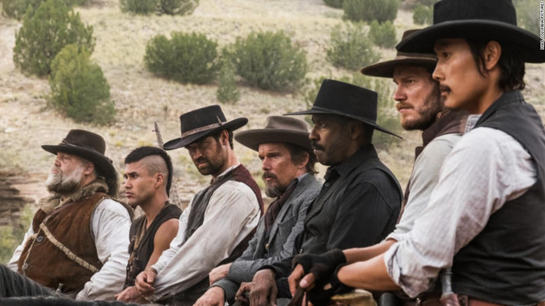 "<strong>""The Magnificent Seven"":</strong> Chris Pratt and Denzel Washington head up an all-star cast in this remake of a classic Western drama. <strong>(Hulu) </strong>"