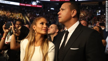 LAS VEGAS, NV - AUGUST 26:  Actress Jennifer Lopez and former MLB player Alex Rodriguez attend the super welterweight boxing match between Floyd Mayweather Jr. and Conor McGregor on August 26, 2017 at T-Mobile Arena in Las Vegas, Nevada.  (Photo by Christian Petersen/Getty Images)