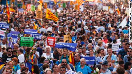 "Half a million people attended the peace march in Barcelona on Saturday, many chanting ""I am not afraid."""