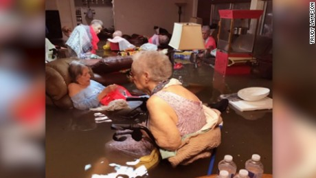 Residents of a nursing home in Dickinson, Texas, were rescued Sunday.
