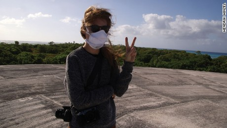 Kim Wall stands on the Runit Dome nuclear waste site in Enewetak in the Marshall Islands. Along with reporting partners Hendrik Hinzel and Coleen Jose, the journalists were investigating the lingering effects of US nuclear testing era on society, culture and the land as well as reporting on climate change in 2015.